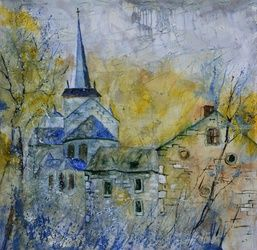 Old romanesque church in<br>Belgium, Architecture,Decorative Arts,Drawings / Sketch,Paintings, Impressionism, Landscape, Canvas, By Pol Ledent
