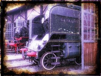 Old steam trains in depot<br>08485m1, Digital Art / Computer Art,Photography, Fine Art,Impressionism,Modernism,Realism,Street Art, Avant-Garde,Cityscape,Daily Life,Documentary,Environmental art,Historical,Machnine Forms, Photography: Photographic Print, By Ksavera Art