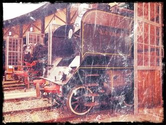 Old steam trains in depot<br>08485m3, Photography, Fine Art,Modernism,Photorealism,Realism,Surrealism, Avant-Garde,Cityscape,Conceptual,Daily Life,Documentary,Environmental art,Historical,Machnine Forms, Photography: Stretched Canvas Print, By Ksavera Art