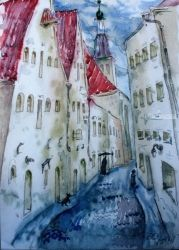 Old Town, Paintings, Expressionism, Architecture, Watercolor, By Victor Ovsyannikov
