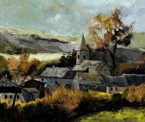 Old village in Houffalize, Architecture,Decorative Arts,Drawings / Sketch,Paintings, Impressionism, Landscape, Canvas, By Pol Ledent