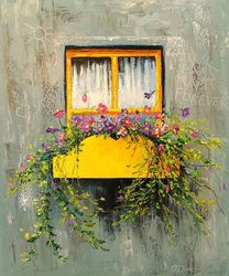 Old window, Paintings, Impressionism, Botanical,Cityscape,Floral, Canvas,Oil,Painting, By Olha   Darchuk