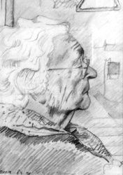 Oma (1991) (My grandmother<br>Marie Kersten-Kuster), Drawings / Sketch, Fine Art,Impressionism,Realism, Anatomy,Composition,Inspirational,People,Portrait, Pencil, By Corne Akkers