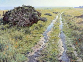 On the Hill, California, Paintings, Impressionism, Botanical,Landscape, Canvas,Oil, By Mason Kang