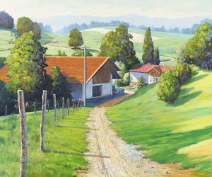 On the Way to Vienna, Paintings, Impressionism, Landscape, Canvas,Oil, By Mason Kang