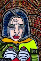 Once of a lifetime kind of<br>portrait by israeli artist<br>Mirit Ben-Nun, Paintings, Expressionism, People, Ink, By Mirit Ben-Nun