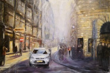 One day in Vienna, Paintings, Fine Art,Impressionism, Cityscape,Figurative, Oil,Wood, By Angela Suto