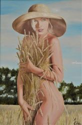 Only Nature And A Hat, Paintings, Realism, Nudes, Canvas,Oil, By Micheal Eaken