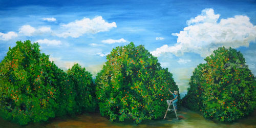 Orange Orchard, Paintings, Expressionism, Landscape, Oil, By Jane Adrianson