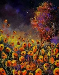 Orange poppies 4562, Paintings, Expressionism, Floral, Canvas, By Pol Ledent