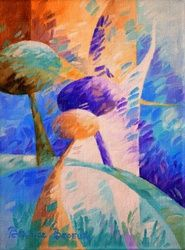 Orange trees 054, Paintings, Abstract, Figurative,Floral,Landscape,Nature, Canvas,Oil, By Beatrice BEDEUR