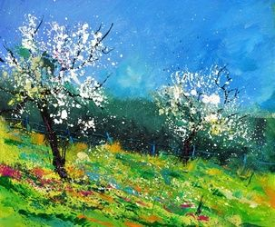 Orchard 564150, Architecture,Decorative Arts,Drawings / Sketch,Paintings, Impressionism, Landscape, Canvas, By Pol Ledent