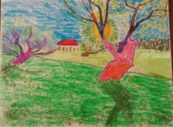 Orchard in the Sun, Paintings, Impressionism, Landscape, Pastel, By MD Meiser