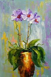 Orchid, Paintings, Impressionism, Fantasy,Floral, Canvas,Oil,Painting, By Olha   Darchuk