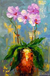 Orchid, Paintings, Impressionism, Botanical,Floral, Canvas,Oil,Painting, By Olha   Darchuk
