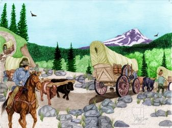 Oregon At Last, Digital Art / Computer Art,Drawings / Sketch,Illustration, Commercial Design,Fine Art,Realism, Animals,Children,Documentary,Historical,Landscape,Narrative,Nature,Wildlife,Window on the World, Digital,Pencil, By Marty Jones