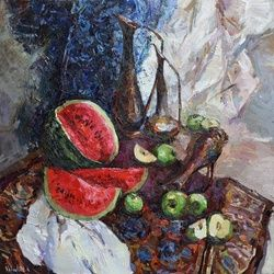 Oriental Still Life with<br>Watermelon, Paintings, Impressionism, Still Life, Oil, By Anastasiya Valiulina