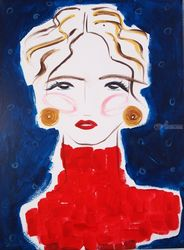 Abigail, Paintings, Abstract,Impressionism,Minimalism,Modernism,Primitive, Portrait, Acrylic,Canvas, By Lianne Kocks