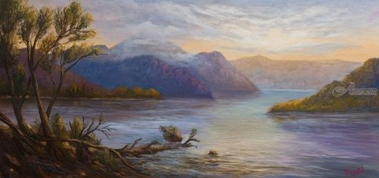 Original oil on canvas of Lake<br>Burbury near Queenstown<br>Tasmania, Paintings, Realism,Romanticism, Landscape, Canvas,Oil, By Christopher Vidal
