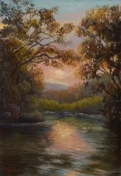Original oil on canvas- sunset<br>near Moonie Beach, northern<br>NSW, Paintings, Fine Art,Realism,Romanticism, Landscape,Nature, Canvas,Oil,Painting, By Christopher Vidal