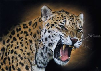 "Original pastel drawing<br>""Jaguar"", Pastel, Realism, Animals, Pastel, By Mikhail Vedernikov"