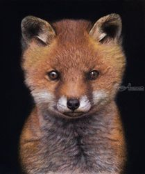 "Original pastel drawing<br>""Little foxy"", Pastel, Realism, Animals, Pastel, By Mikhail Vedernikov"
