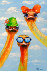 Ostriches friends, Paintings, Impressionism, Animals,Nature,Tropical, Canvas,Oil,Painting, By Olha   Darchuk