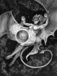Otherworldly, Drawings / Sketch, Fine Art,Realism,Surrealism, Celestial / Space,Erotic,Fantasy,Nudes,People, Pencil, By Rebecca Magar