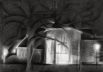 Oude Kerk (The Old Church) at<br>Voorburg -12-17, Drawings / Sketch, Abstract,Cubism,Fine Art,Impressionism, Architecture,Cityscape,Composition,Figurative,Inspirational,Landscape,Nature, Pencil, By Corne Akkers