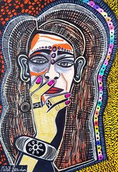 Out of this world portraits by<br>Mirit Ben-Nun, Paintings, Expressionism, People, Ink, By Mirit Ben-Nun