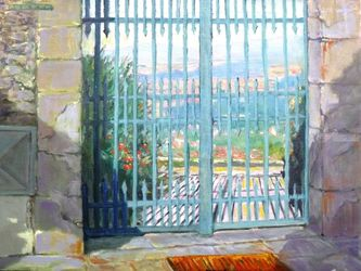 Over the Blue Gate, Paintings, Impressionism, Landscape, Canvas,Oil, By Mason Kang