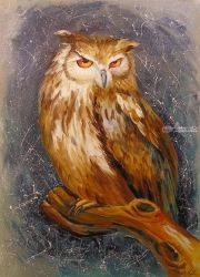 Owl, Paintings, Fine Art,Impressionism, Animals, Canvas,Oil,Painting, By Olha   Darchuk