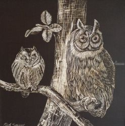 Owls 2, Paintings, Minimalism, Nature,Wildlife, Oil, By Rick Seguso