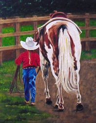 Pals, Paintings, Fine Art,Realism, Animals,Daily Life,People, Canvas, By Rick Seguso