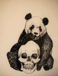 Panda Bear, Decorative Arts,Drawings / Sketch,Illustration,Tattoo, Commercial Design,Fine Art,Realism,Symbolism, Conceptual,Decorative,Fantasy,Spiritual, Ink, By Misia Slemp