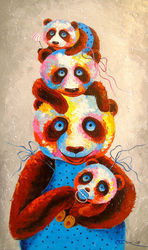 Panda family, Paintings, Impressionism, Animals,Figurative,Nature,Tropical, Canvas,Oil,Painting, By Olha   Darchuk