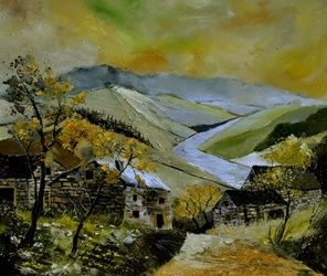 Panorama 76, Architecture,Decorative Arts,Drawings / Sketch,Paintings, Impressionism, Landscape, Canvas, By Pol Ledent