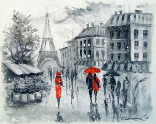 Paris, Paintings, Fine Art,Impressionism, Cityscape,Landscape,People, Canvas,Oil,Painting, By Olha   Darchuk