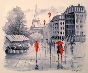 Paris, Paintings, Impressionism, Architecture,Cityscape,Landscape, Canvas,Oil,Painting, By Olha   Darchuk