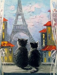 Parisians, Paintings, Impressionism, Animals,Cityscape, Canvas,Oil,Painting, By Olha   Darchuk