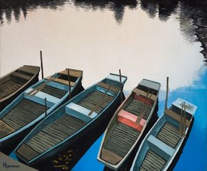 Parking on the Vltava, Paintings, Impressionism,Realism, Cityscape, Canvas,Oil, By Ivan Klymenko