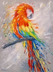 Parrot, Pottery, Fine Art,Impressionism, Anatomy,Animals,Nature,Tropical,Wildlife, Canvas,Oil,Painting, By Olha   Darchuk