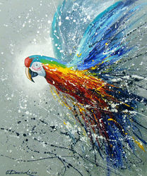 Parrot in flight, Paintings, Abstract,Impressionism, Animals,Fantasy, Canvas,Oil,Painting, By Olha   Darchuk