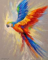Parrot in flight, Paintings, Fine Art,Impressionism, Animals,Nature, Canvas,Oil,Painting, By Olha   Darchuk