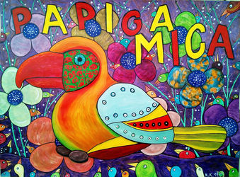 Parrot Mica tells you, a<br>fantastic, true story with a<br>modern image, amateur art, Decorative Arts,Folk Art,Illustration,Paintings, Fine Art,Primitive,Satire, Animals,Art Brut,Avant-Garde,Fantasy,Humor, Acrylic,Mixed, By Kost Koža outsider art and stories