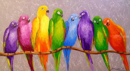 Parrots friends, Paintings, Expressionism,Impressionism, Animals,Nature, Canvas,Oil,Painting, By Olha   Darchuk