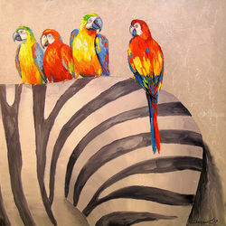 Parrots on Zebra, Paintings, Impressionism, Animals,Nature, Canvas,Oil,Painting, By Olha   Darchuk