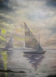 Parting, Paintings, Fine Art,Impressionism,Realism, Seascape, Canvas,Oil, By Ivan Klymenko