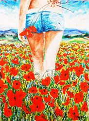 PASSEGGIATA TRA I PAPAVERI -<br>2015 - Olio su tela 50 x 70, Paintings, Impressionism, Figurative, Canvas, By GAETANO MINALE