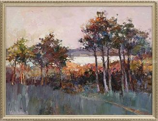Path to the Lake - Framed, Paintings, Fine Art,Impressionism, Landscape,Nature, Oil, By Anastasiya Valiulina